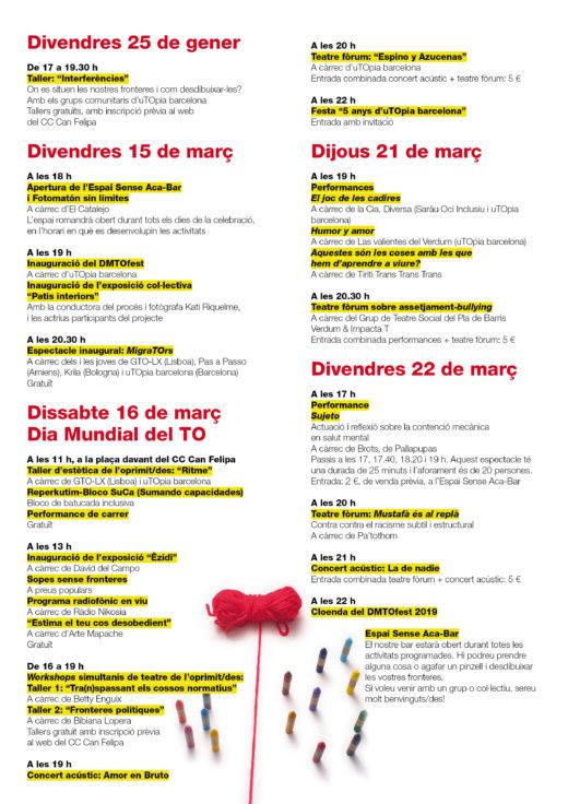 Programa Dia Mundial del Teatre de l'Oprimit 2019